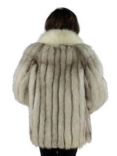 Woman's Blue Fox Fur Jacket with Shadow Fox Tuxedo Front