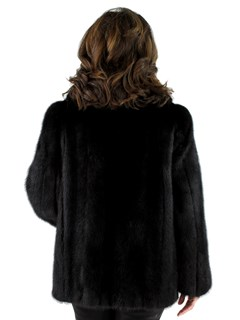 Woman's Ranch Mink Fur Jacket with Fox Tuxedo Front