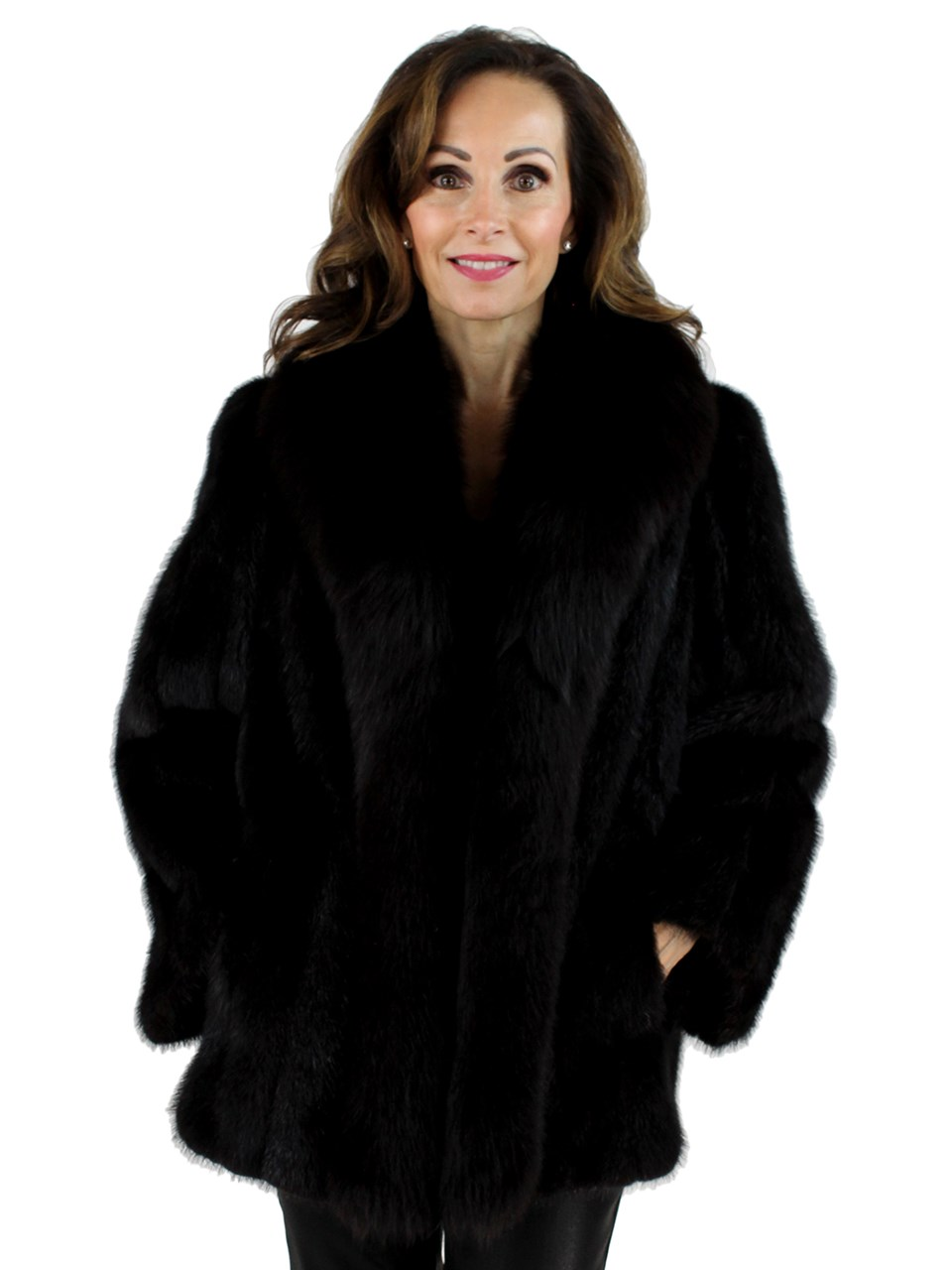 Ranch Mink Jacket with Fox Tuxedo Front