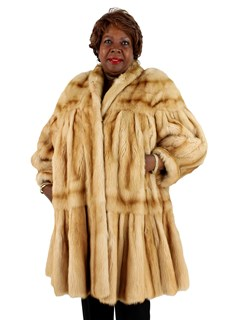 Woman's Teso Golden Kolinsky 7/8 Mink Fur Coat Tiered Design