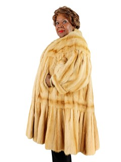 Woman's Teso Golden Kolinsky 7/8 Mink Fur Coat Tiered Design