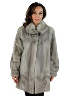 Saga Woman's Blue Diamond Cerulean Mink Fur Jacket