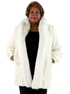 Woman's White Mink Fur Stroller with Fox Tuxedo Front