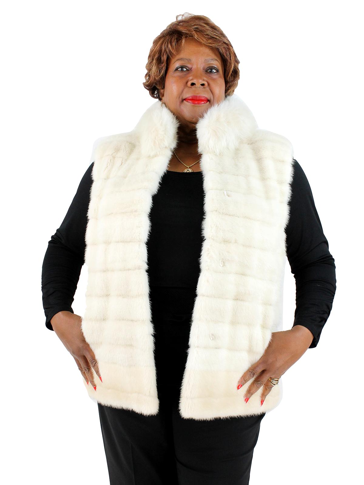 Woman's White Female Mink Fur Vest with Fox Neckline