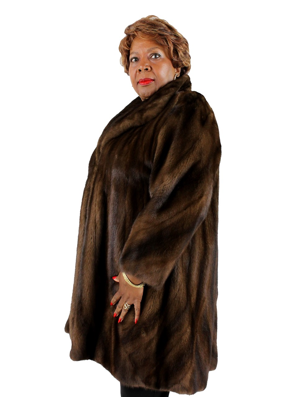 Demibuff Female Mink Coat with Direction Body