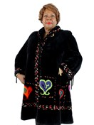 Zuki Sheared Beaver Coat with Colorful Inserts