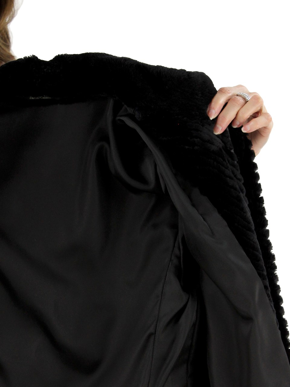 Petite Like New Black Sheared Beaver Jacket