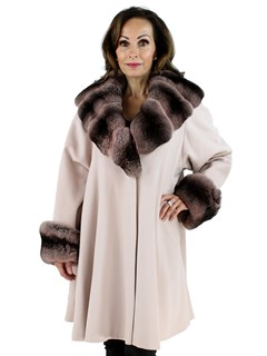 Woman's Blush Cashmere Coat with Chinchilla Collar and Trim