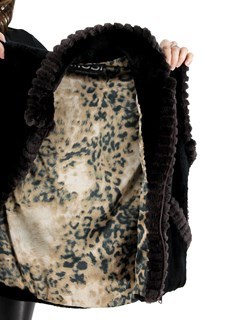 Woman's Black Sheared Beaver Fur Vest with Brown Sheared Beaver Trim