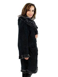 Woman's Christia Reversible Black Shearling Lamb Stroller