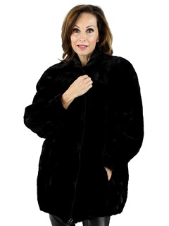 Woman's Black Sculptured Mink Fur Jacket Reversible to Fabric