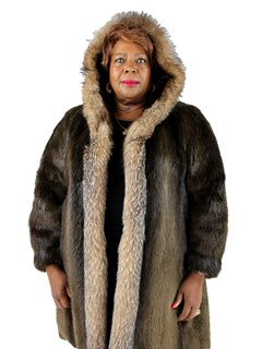 Woman's Dark Brown Long Hair Beaver Coat with Crystal Fox Trim