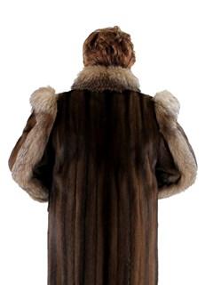 Woman's Plus Size Mahogany Mink Fur Coat with Crystal Fox Tuxedo Front