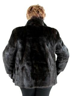 Woman's Plus Size Dark Mahogany Female Mink Fur Jacket