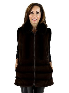 Woman's Brown Sheared Mink Fur Vest with Fox Collar