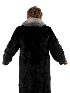 Woman's Plus Size Sculptured Ranch Mink Fur Coat