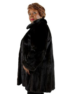 Woman's Dark Mahogany Mink Fur 3/4 Coat