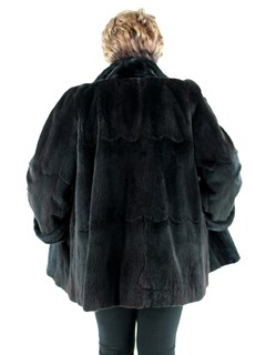 Woman's Sheared Ranch Mink Fur Stroller with Traditional Mink Trim