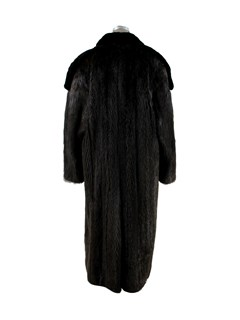 Man's Ebony Long Hair Beaver Coat with Sheared Beaver Trim
