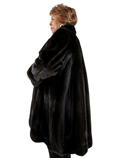 Woman's Plus Size Dark Mahogany Directional Mink Fur 7/8 Coat
