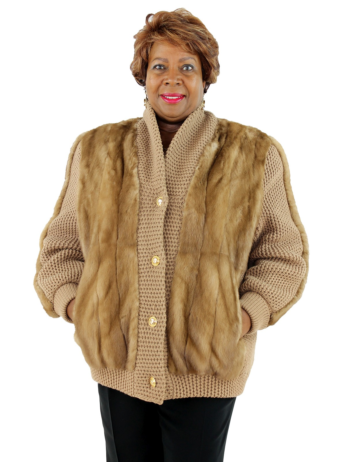 Woman's Autumn Haze Mink Fur and Knit Jacket
