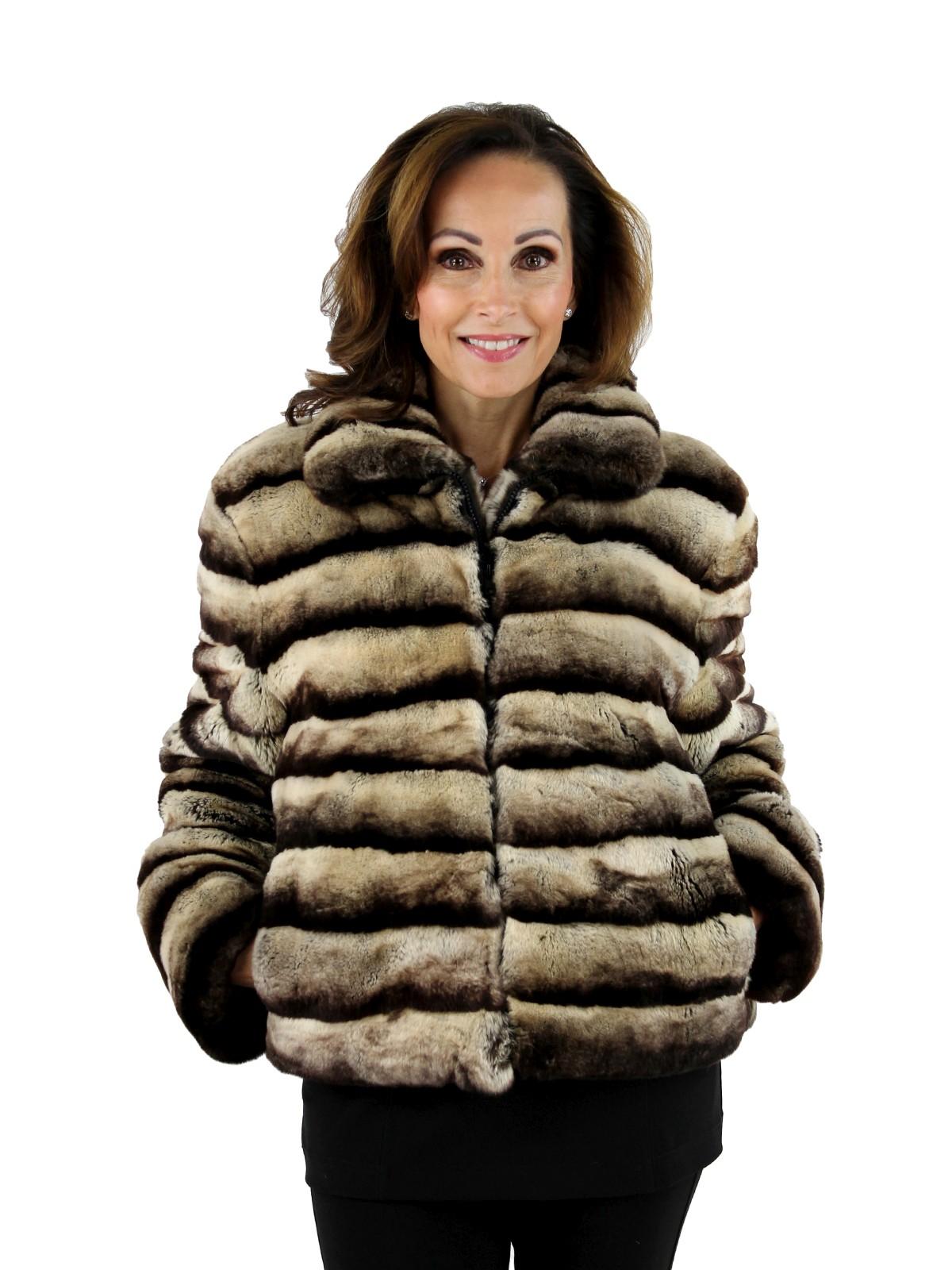 Woman's Chinchilla Dyed Sheared Rex Rabbit Zipper Jacket