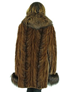 Woman's Sculptured Mahogany Sheared Mink Fur Stroller