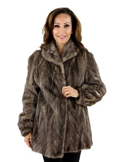 Woman's Blue Iris Sectioned Mink Fur Jacket