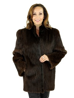 Woman's Cord Cut Mahogany Mink Fur Jacket