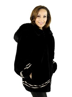 Woman's Black Sheared Beaver Fur Jacket with Detachable Fox Trimmed Hood