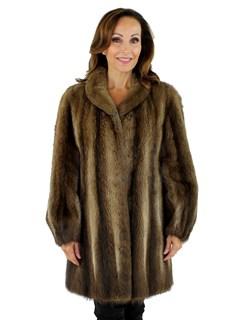 Woman's Natural Muskrat Fur Stroller