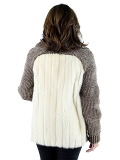 Woman's Tourmaline Mink Fur and Knit Jacket