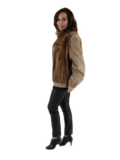Autumn Haze Mink Fur Jacket w/ Suede Sleeves