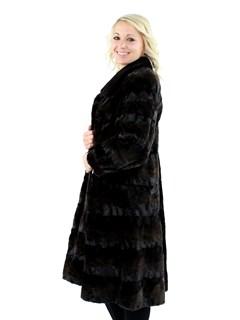Woman's Mahogany Sculptured Mink Fur 7/8 Coat