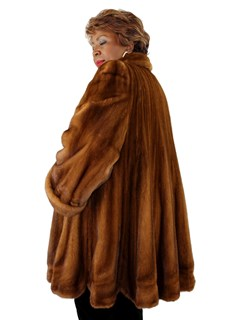 Woman's Whiskey Female Mink Coat with Scalloped Hem