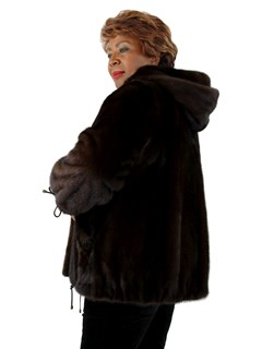 Woman's Saga Furs Mahogany Mink Parka with Double Sided Fur Hood