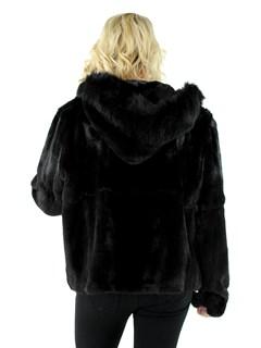 Woman's Semi-sheared Ranch Mink Fur Parka with Fox Trimmed Hood