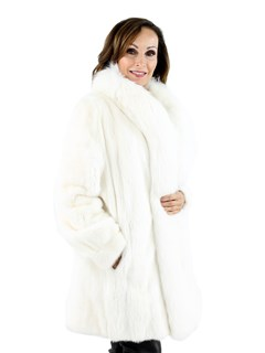 Woman's White Female Mink Fur Stroller