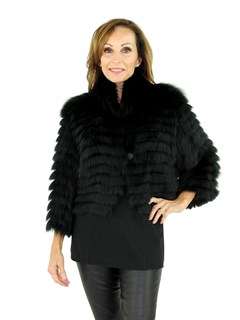 Woman's Black Feathered Fox Fur Bolero Jacket