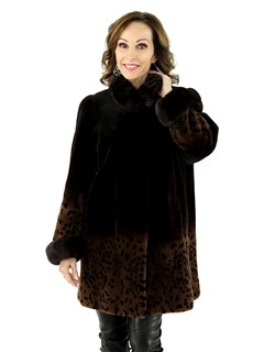 Woman's Brown Degrade' Sheared Mink Stroller with Animal Print Trim