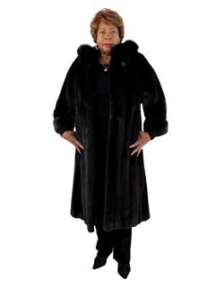 Women's Female Mink Fur Coat with Detachable Fox Trimmed Hood