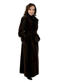 Women's Two-Tone Brown Stenciled Sheared Mink Fur Coat