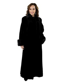 Women's Jean Crisan Black Sheared Mink Fur Coat with Laser Grooving