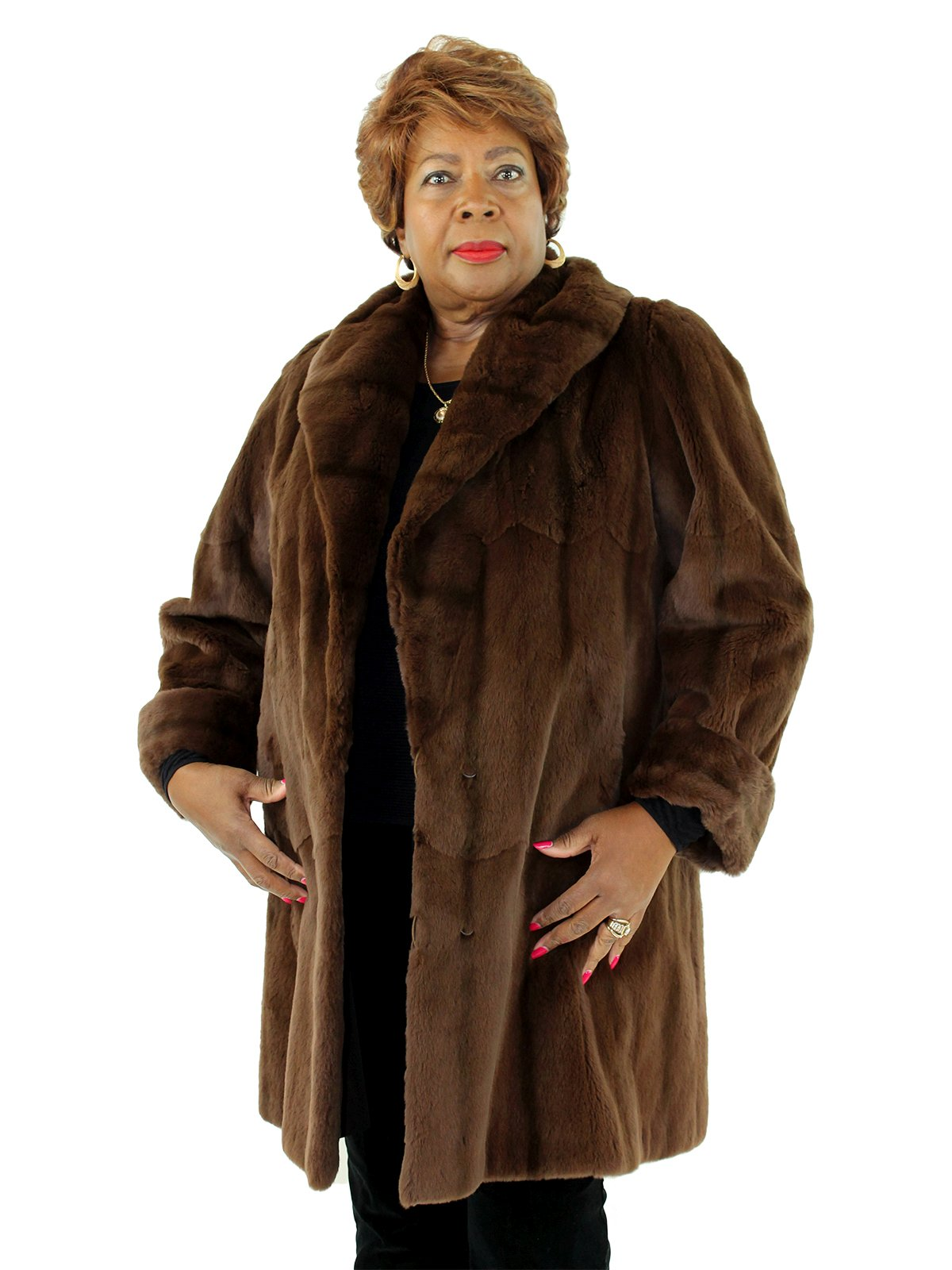Woman's Toffee Sheared Mink Fur Coat Reversible to Bronze Rain Fabric