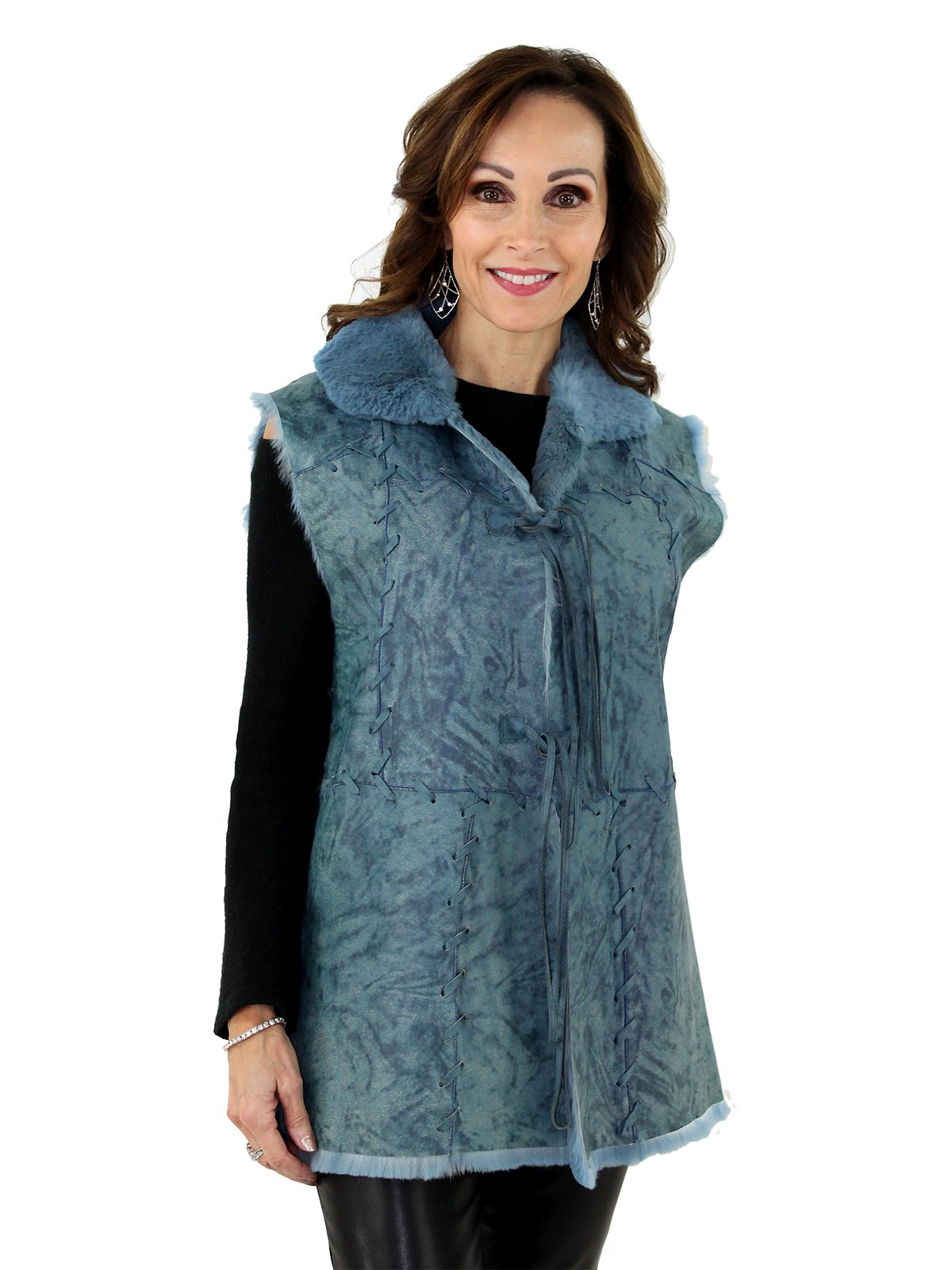 Woman's Blue Leather Vest with Rabbit Fur Lining