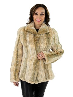 Woman's Camel Rex Rabbit Fur Woven Jacket