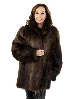 Woman's Rosewood Long Hair Beaver Jacket