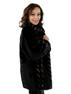 Woman's Ranch Mink Fur Jacket Reversible to Black Leather
