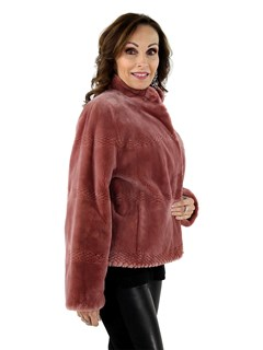 Woman's New Vintage Rose Dyed Sheared Beaver Fur Jacket
