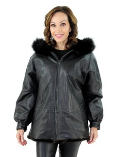 Woman's Black and Lunaraine Mink Fur Parka with Black Fox Fur Trimmed Hood Reversible to Black Leather